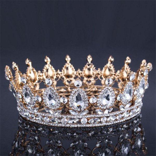 Vintage Baroque Queen King Bride Tiara Crown For Women Headdress Prom Bridal Wedding Tiaras And Crowns Hair Jewelry Accessories C19022201