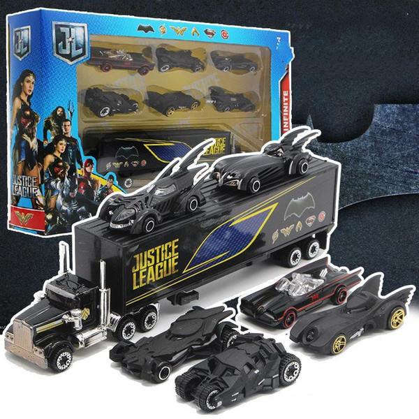 Nouveau Batman, chariot en alliage, jouets de costume, 6 chars, wagons porte-conteneurs, voiture de poche pour enfants.