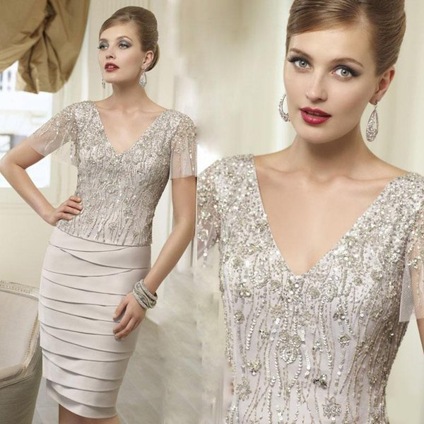 VENI INFANTINO Mother Of The Bride Dresses modest Champagne Plus Size V-neck Short Sleeve Knee-length Sequins Beads Party Dress Custom Made