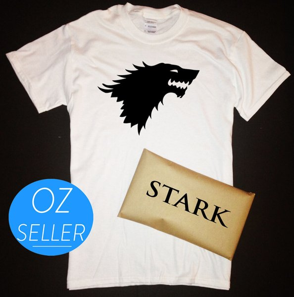 House Stark Direwolf T-Shirt with Stark Packaging Game of Thrones WinterfellFunny free shipping Unisex Casual Tshirt top