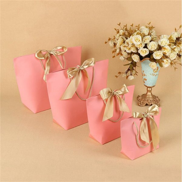 Gift Boutique Bow Bag Paper Party Favor Bag with Bow Ribbon Elegant Clothes Packing for Birthday Wedding Baby Shower Present Wrap 5 Colors