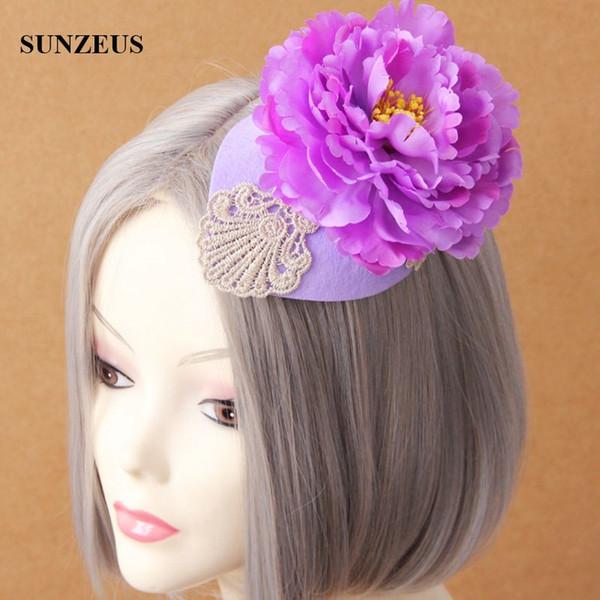 Sombrero de flores moradas grandes con encaje Moda Boinas pequeñas Fiesta nupcial Sombreros Festival Sombreros