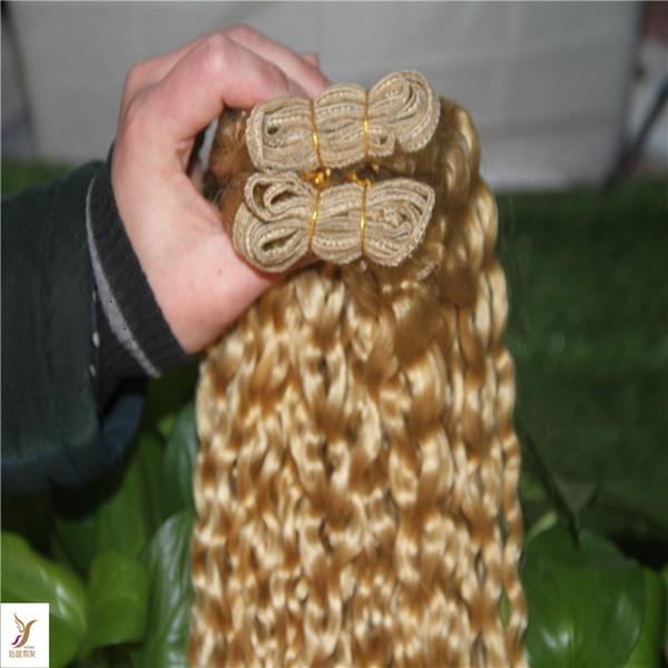 Blond moyen Couleur Afro Kinky Curly tissage de cheveux 10-30 brésilien cheveux Weave Maxi Bundles 100% Human Hair Extensions 1 / pcs Bundles Remy