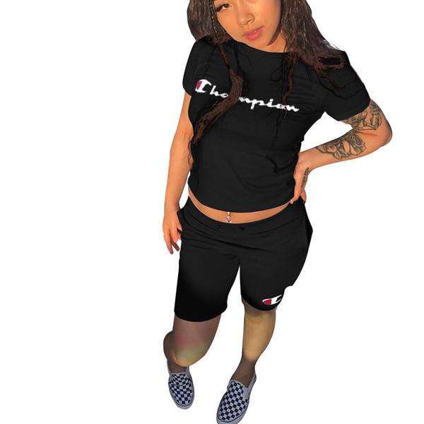 Marca dos Campeões Carta de Impressão Mulheres Treino de Manga Curta T-shirt Top + Calças Curtas 2 pc Roupa Definir Outfit Calções de Verão Jogging Terno B3043