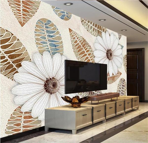 Großhandel Benutzerdefinierte Größe 3D Fototapete Wohnzimmer Wandbild  Garten Blätter Und Blumen Foto Bild Wandhauptdekor Kreative Hotel Studie  Tapete ...