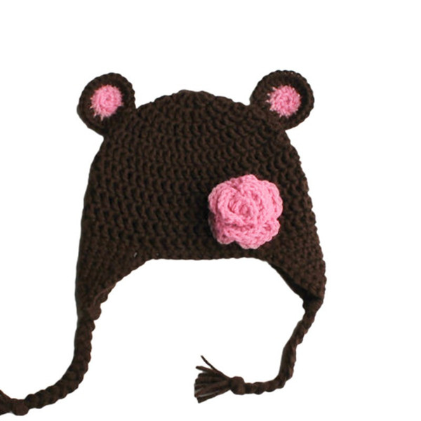 20f57dc27 2019 Lovely Baby Bear Hat With Flower,Handmade Knit Crochet Baby Girl  Animal Earflap Hat,Spring Winter Hat,Newborn Photo Prop From Awesome_shop,  $8.88 ...