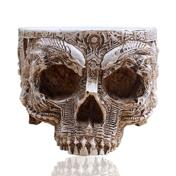 P -Flame White Antique Sculpture Cranio umano Planter Garden Storage Pots Contenitore Macetas Decorazione Flower Pot per la decorazione domestica