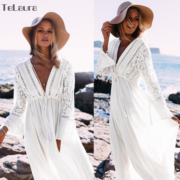 2019 Sexy Strand Vertuschung Badeanzug Weiß V-ausschnitt Aushöhlen Strand Langes Kleid Frauen Bikini Bademode Badeanzug Sommer Strand Tunika Y19071801