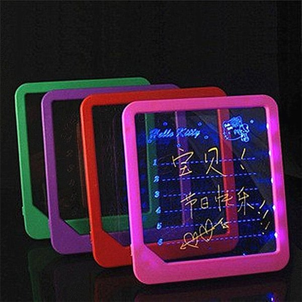 best selling LED Light Fluorescent WordPad Billboard Fun Light Toys for Kids Children Electronic Luminescent Message Board Handwriting Pad free shipping