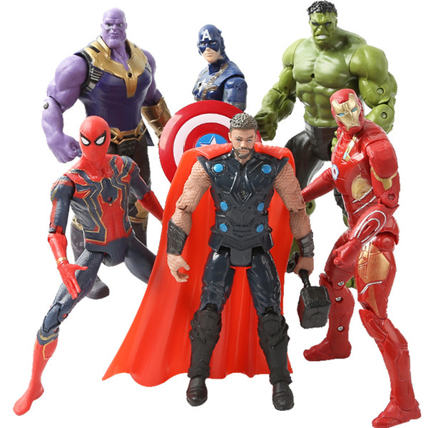 17CM Super Hero The Avenger Toys Marvel Captain America Spider Man Iron Thanos Man Wolverine Hulk PVC Action Figure Toy Dolls