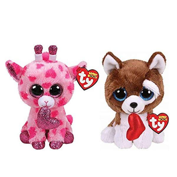 "Ty Beanie Boos 6"" 15cm Giraffe Dog Plush Regular Stuffed Animal Collectible Soft Big Eyes Doll Toys For Children"