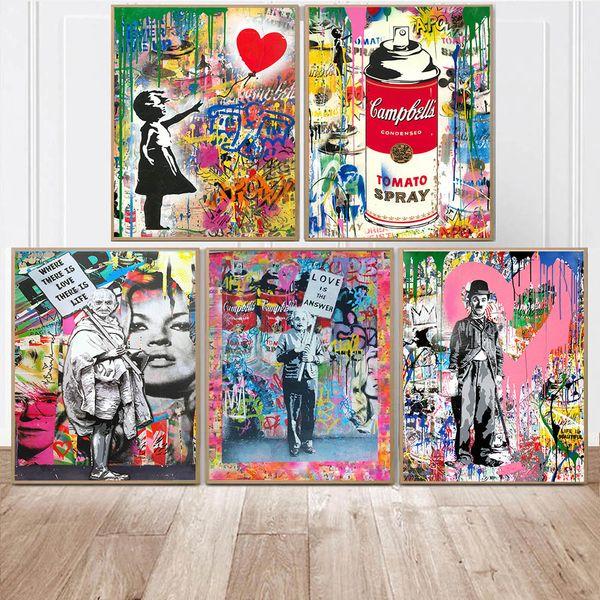 Menina com balão Rua Graffiti Wall Pinturas Tela Arte abstrata Einstein Art Canvas Prints Para Kids Room Decor Cuadros
