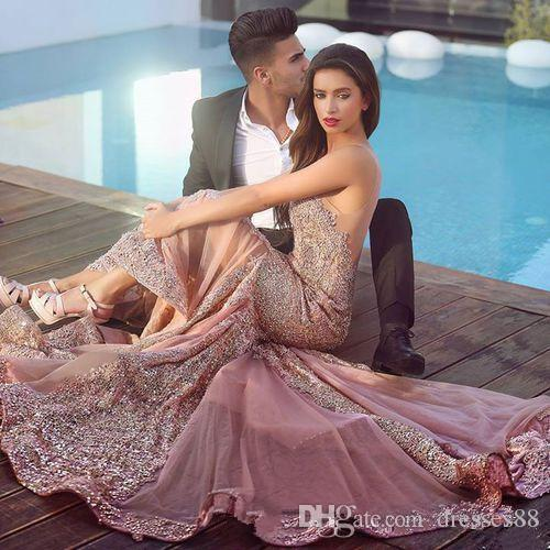 2019 Arabic Skin Pink Mermaid Evening Dresses Plum Lace Appliques Backless Brush Train Backless formal Prom Gowns Said Mhamad Dress