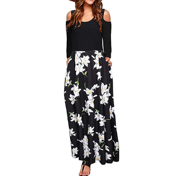 Moda verão dress mulheres femininas frio ombro floral print elegante maxi manga comprida dress com bolso robe elbise vestidos