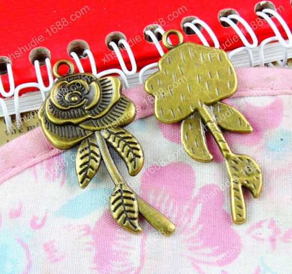 40pcs 43*19MM Antique bronze tibetan alloy rose flower charms for bracelet vintage metal pendant earring handmade DIY jewelry making