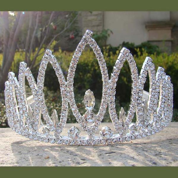 Trasporto libero all'ingrosso grande spettacolo argento lucido bambina metallo rhinestone diadema corona per la decorazione pettine dei capelli