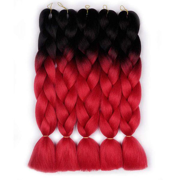 Ombre Colors Jumbo Braid Kanekalon Hair 5pcs Synthetic Afro Braiding Hair Extensions 24 Inch 2 Tone for Women Hair Twist Crochet Braids 100g