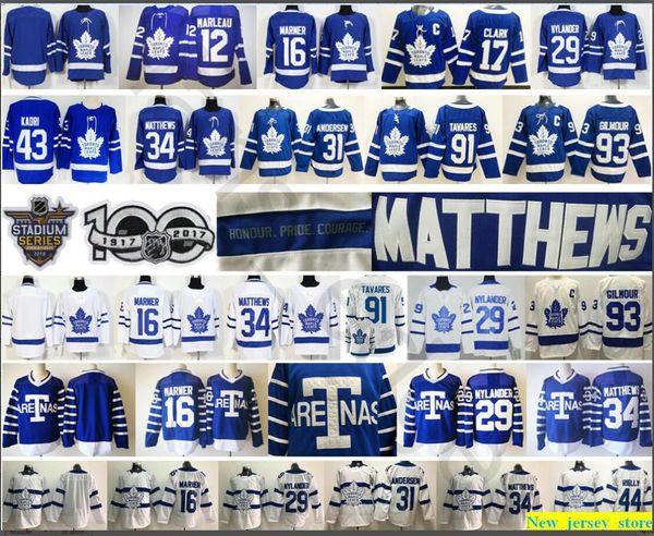 Toronto Maple Leafs 91 John Tavares Trikot 16 Mitchell Marner 29 William Nylander 31 Frederik Andersen 34 Auston Matthews Eishockeytrikots