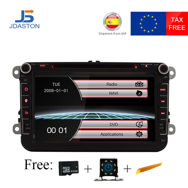JDASTON 2 DIN 8 Inch Car DVD Player For Volkswagen VW Passat POLO GOLF Jetta TOURAN Skoda Seat Leon GPS Navigaiton FM RDS Maps
