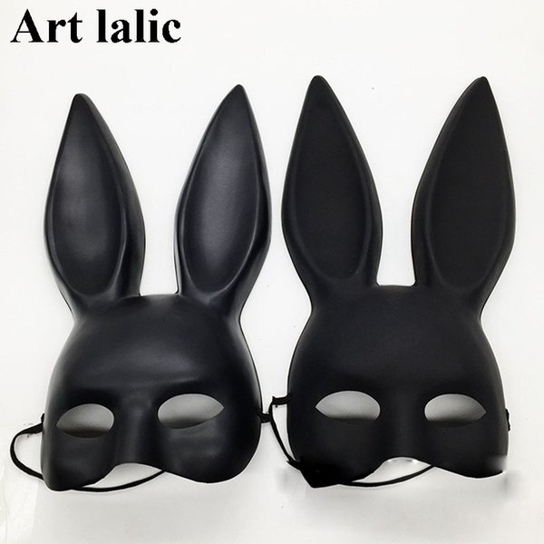Mark Black Women Girl Sexy orecchie da coniglio maschera carino Bunny Long Ears Bondage Mask Halloween Masquerade Party Cosplay Puntelli