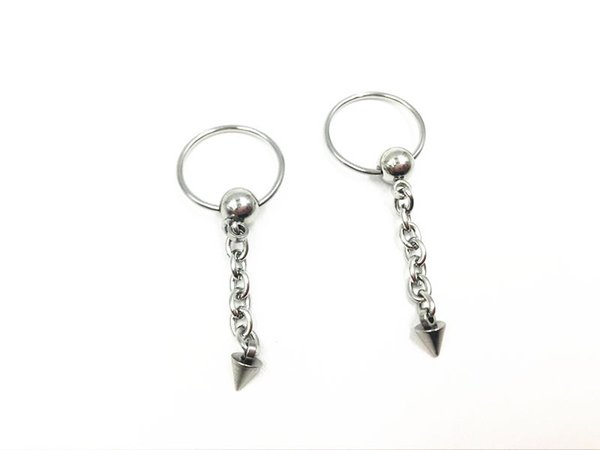 Lot 50pcs Punk Spike Hoop Earrings Ear Studs Body Piercing Jewelry Nipple Rings Free shipment 18GX12MM