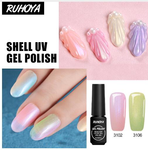 Shining Mermaid Color Lucky Nail Gel Manicure Design Pearl Luster Colorful Acrylic Paint Semi Permanent Shell Gel Varnish