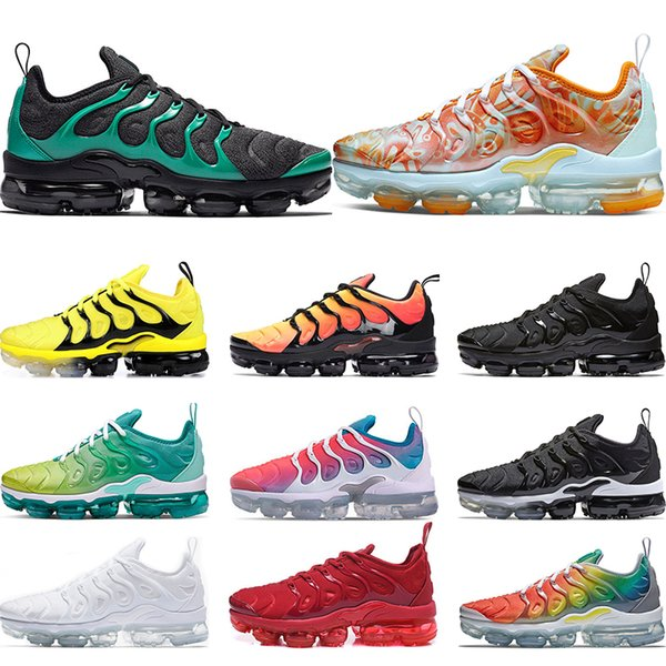 san francisco 11e6d 7ce6a 2019 AirVapormaxTNPlus Running Shoes For Mens Lemon Lime Rainbow Work Bule  Triple White Black Womens Sport Sneakers Trainers From ...