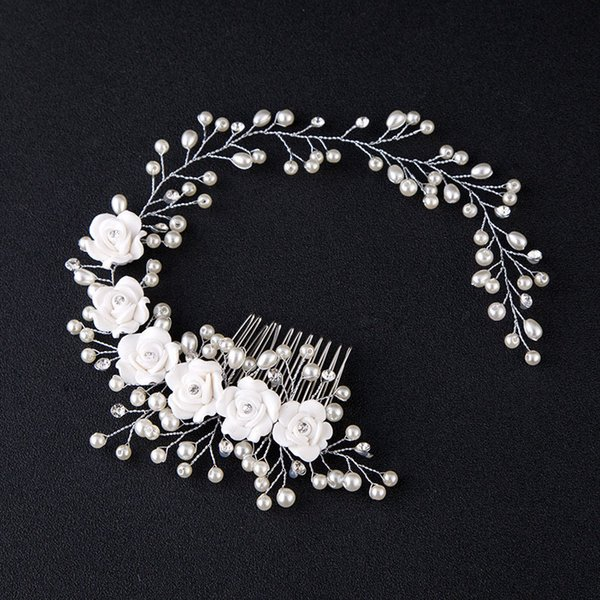New Hair Accessories For Women Pearl Flower Hairband Wedding Bride Tiaras Crown Headband Hair Comb Clips coroa de noiva Jewelry C18122501