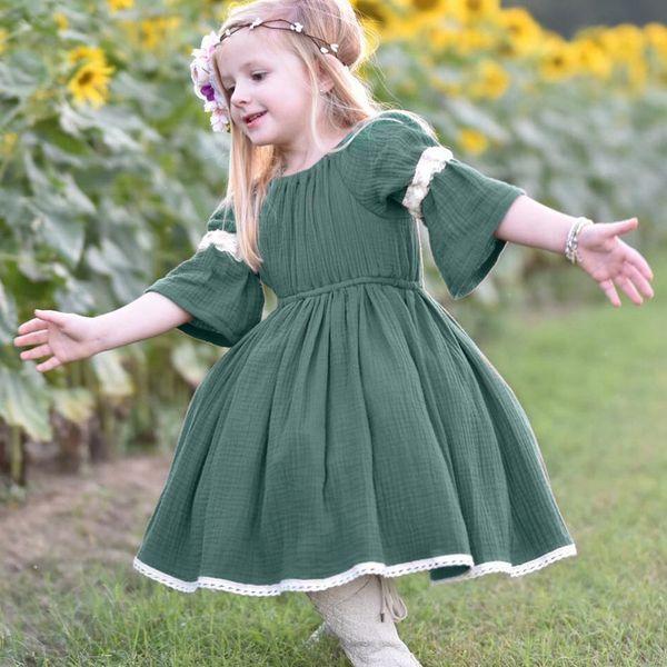 Fille fille vêtements vêtements pour les filles robe de princesse manches en dentelle étaient nouveau bébé