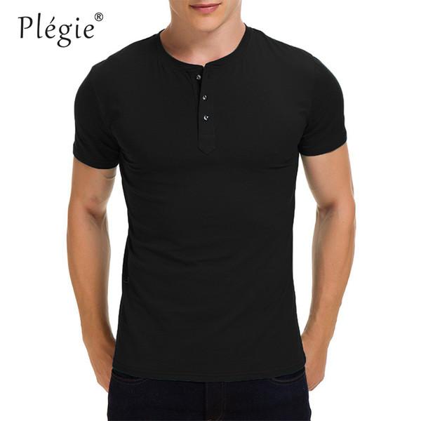 Plegie High quality Short Sleeve Men 2019 Summer T-shirts Solid Color Casual Streetwear Hip Hop Slim Fit Male Tee Tops
