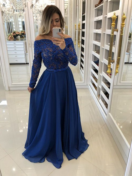 Off the Shoulder Blue Prom Dresses 2019 Elegant Bead Lace Chiffon Long Sleeve Evening Gowns Cocktail Party Ball Dress Formal Gown