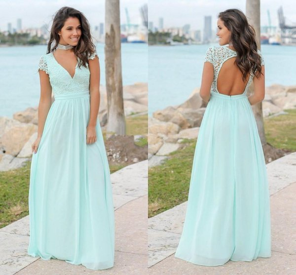 Mint Green Lace Chiffon Bridesmaid Dresses V Neck Cap Sleeves Open Back Floor Length Bridesmaid Gowns Wedding Guest Dress Party Dresses