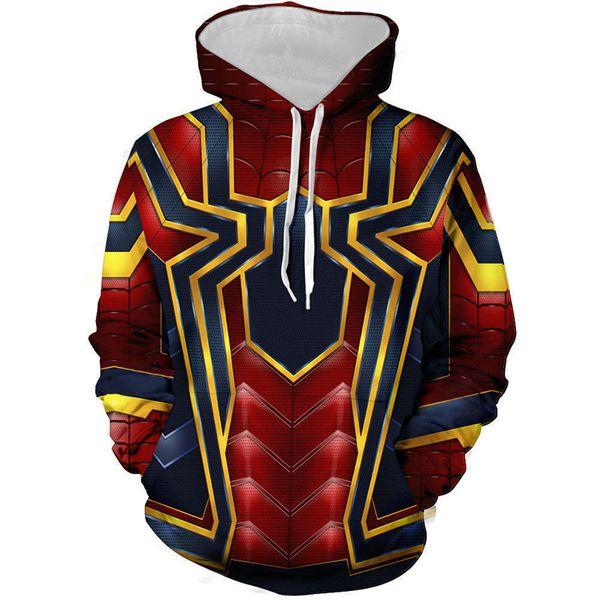 Spider-man 3D impresión digital Cosplay sudaderas con capucha hombres Slipover sudadera chaqueta superhéroe suelto y cómodo