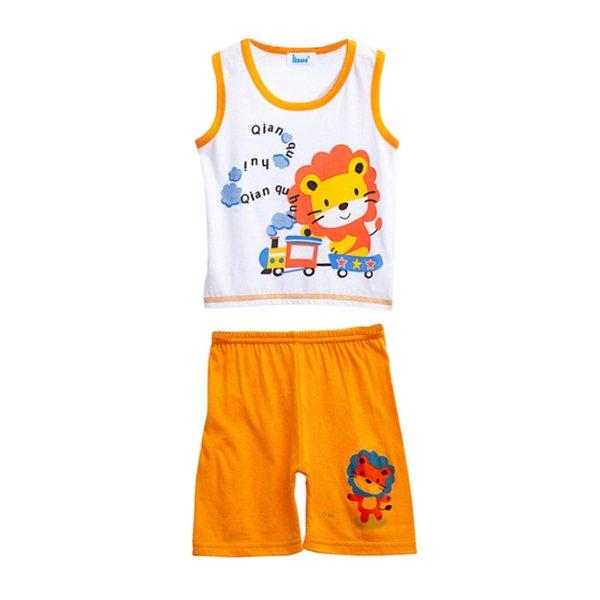 Ensembles d'été de bébé garçons imprimé T-shirt de dessin animé sans manches de dessin animé Débardeurs + Shorts Set vêtements décontractés tenues 0M-3T