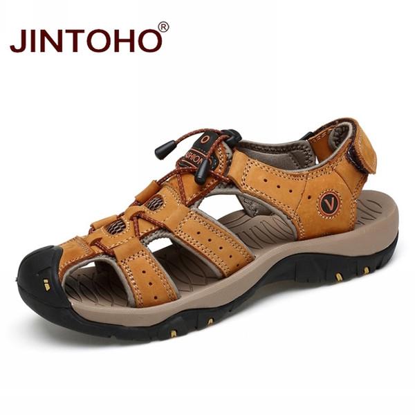 JINTOHO Scarpe estive Sandali da spiaggia alla moda Sandali di cuoio genuini degli uomini di alta qualità Sandalo maschio di marca Uomini di cuoio casuali # 99135