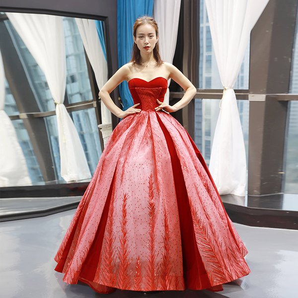 Sexy Strapless Evening Dresses Red Lace Up Back Ball Gown Evening Party Prom Dresses High Low Bridal Dress Melbourne Petite Prom Dresses Plus Dresses