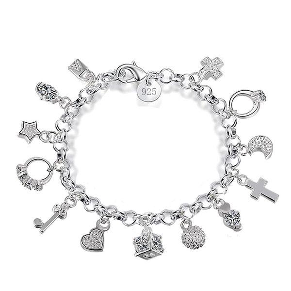 Luxury 925 sterling silver chains bracelets Key lock Cross Rings Star Moon Love Heart charm Lobster clasp bangle For women Fashion Jewelry