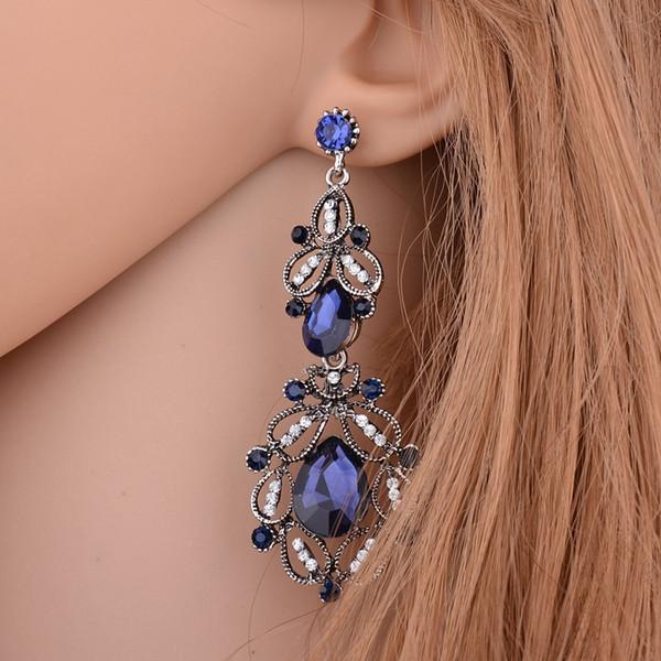 Terreau Kathy Vintage 2016 Nouvelle longue boucle d'oreille Femme Bleu Bijoux en cristal creux Goutte d'eau Boucles d'oreilles pour les femmes Giift E642
