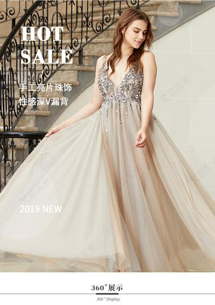2019 nuevo sexy elegante vintage hermosas mujeres con cuello en V estampado floral flores sin respaldo noche show boda fiesta vestido largo al por mayor