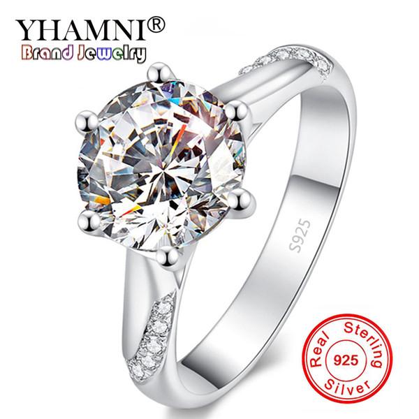 Big 90% de réduction! Beaux Bijoux 100% Original 925 Bague En Argent Massif Naturel 1 Carat Diamant Pierre Anneaux De Mariage Cadeau Pour Les Femmes LR363