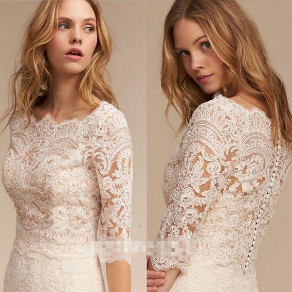 White Ivory Bolero Wedding Bridal Jacket 3/4 Sleeve Lace Applique Elegant Wraps Shrug White Ivory Custom Made