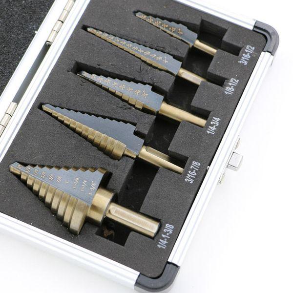 case player Arrival High Quality 5pcs/Set HSS COBALT MULTIPLE HOLE 50 Sizes STEP DRILL BIT SET w Aluminum Case