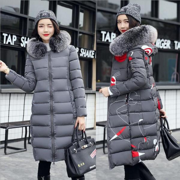 İnce Kış Kadın Kapşonlu Coat Bayan Uzun Bölüm Diz Kalın Yastıklı Aşağı Ceket Taraflar Kızlar Uzun İnce Parka Wear