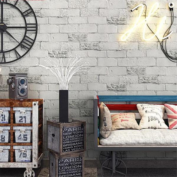 beibehang 새 벽지 복고풍 흰색 벽돌 회색 벽돌 3D 골동품 벽돌 레스토랑 의류