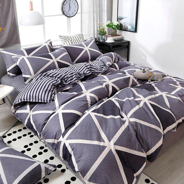 Geometric Pattern Duvet Cover Flat Bed Sheet Pillowcase Bedding Set Soft Skin-friendly Room Decoration Home