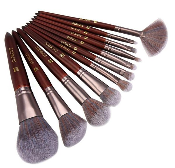 New Arrivals Professional grapelet Makeup brush wooden pole brown 12pcs Makeup brush set Includes foundation brush eyeshadow brush.