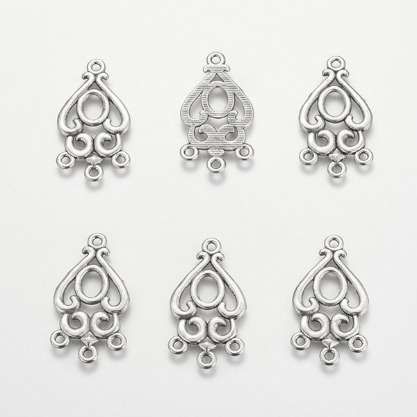 PandaHall 20pc 34x18x1.5mm Antique Silver Color Drop Chandelier Component Links Lead Free and Cadmium Free for Earring Making