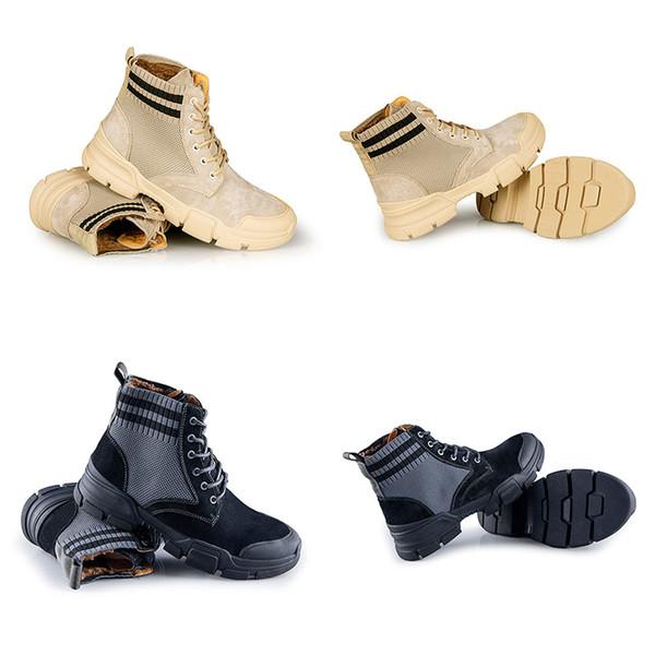 Martin stivali invernali stivali caldi Stivali da cowboy vera pelle Grigio Bruno Tempo libero Martin Sneakers Fashion Designers Mens sicurezza sul lavoro