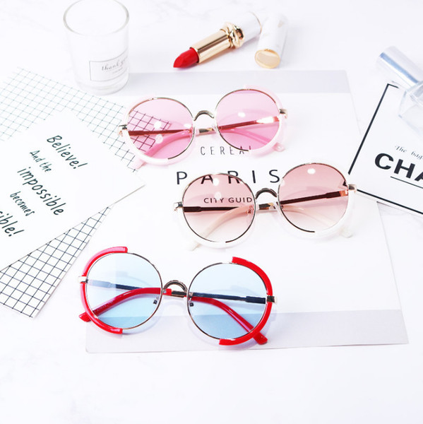 Boys girls sunglasses vintage style children round frame Uv 400 protection kids sun glasses baby sun shading children's day gift F4255