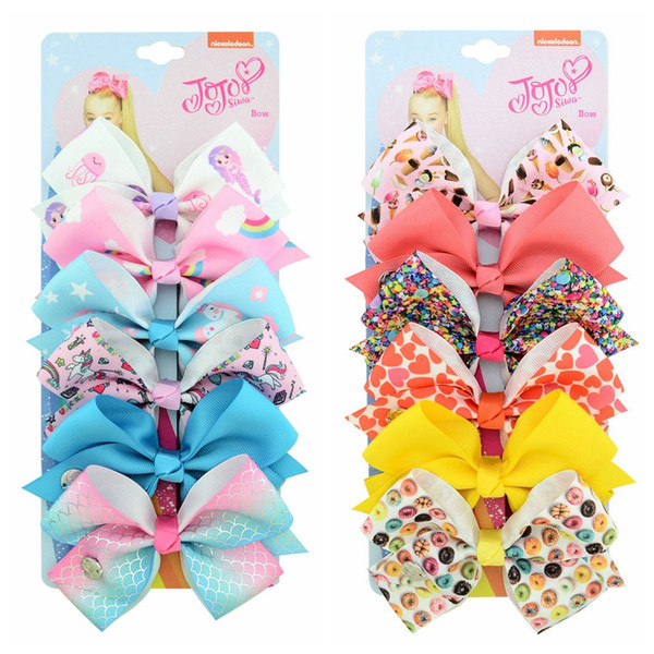 "best selling 126 color 5"" hair Bow girl colorful print Barrettes Girl Hair Accessories Rainbow Unicorn kids Unicorn party Christmas hair clipper"